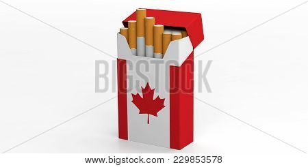 Smoking, Cigarettes Canada. Canadian Flag On A Cigarette Pack Isolated On White Background. 3D Illus