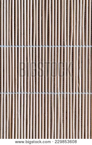 Texture Mats Made Of Young Bamboo For Background. Reed Mat