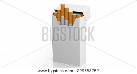 Smoking Concept. Blank No Name Cigarette Pack Isolated On White Background, Space For Text. 3D Illus