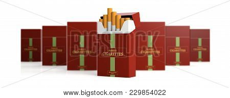 Brand Name Cigarette Pack And Blur Packs Isolated On White Background, Banner. 3D Illustration