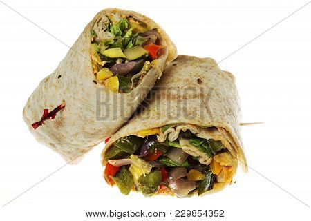 Isolated  Vegetable Wrap In A Tortilla Shell On White