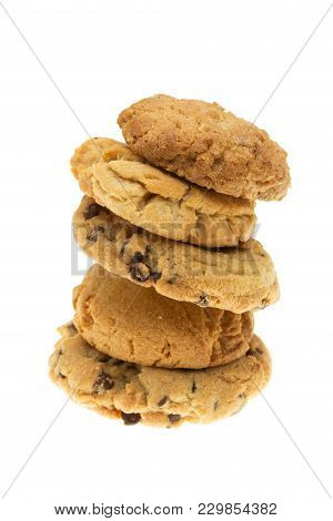 Homade Assorted Cookies Stacked, Isolated On White
