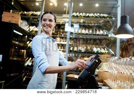 Portrait of attractive cafe owner smile and doing something using cash register