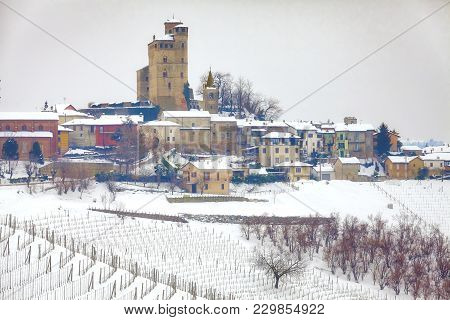 Castiglione (cuneo), Italy - February 28, 2018: Winter Panoramic View Of The Hilly Region Of Langhe