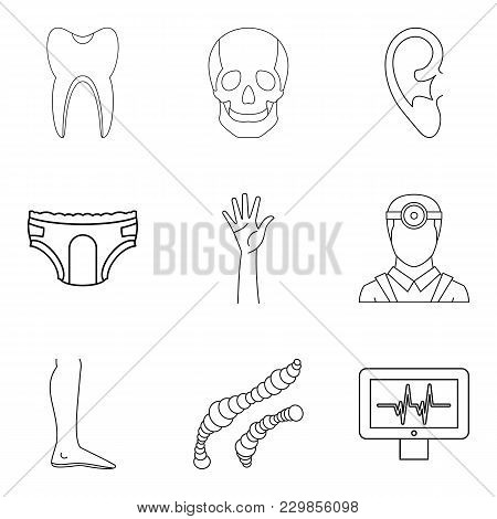 Health Care System Icons Set. Outline Set Of 9 Health Care System Vector Icons For Web Isolated On W