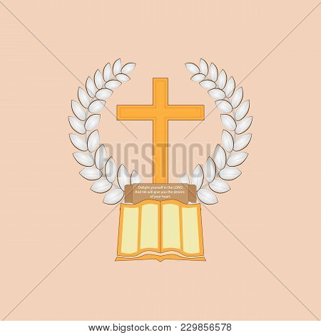 Laurel Leaf Surrounds The Christian Cross. The Bible With A Commemorative Plaque Lies At The Cross.