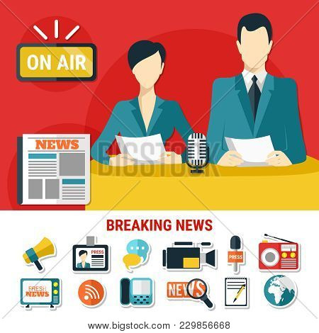 Breaking News Design Concept With Television Announcers On Air And Set Of Flat Isolated Icons On Pre