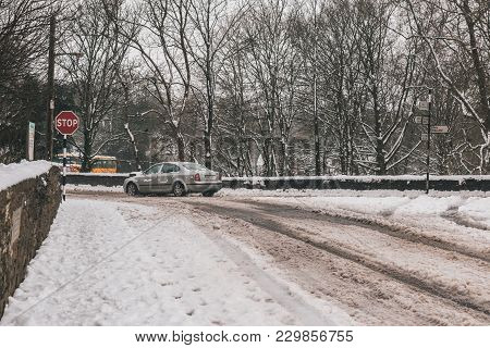 March 3rd, 2018, Carrignavar, County Cork, Ireland - Roads Barely Usable During Storm Emma, Also Kno