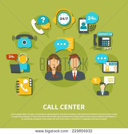 Call Center Composition On Green Background With Staff In Headset During Consultations, Online Suppo