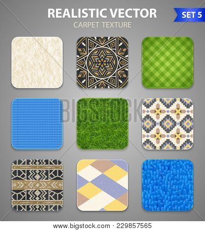 Carpet Rugs Floor Covering Texture Patterns Styles 9 Realistic Square Samples Collection On Grey Bac