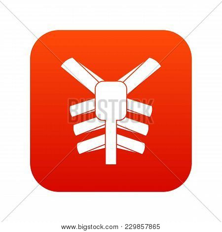 Human Thorax Icon Digital Red For Any Design Isolated On White Vector Illustration
