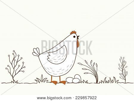 Illustration Of Isolated Cartoon Chicken On White Background