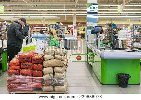 Kiev, Ukraine. January 8 2018. Cash Desk At The Supermarket.