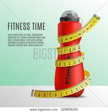 Fitness Bottle Tape Realistic Composition With Editable Text And Image Of Bottle Wrapped Up In Metre
