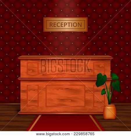 Luxury Hotel Reception Wooden Front Desk In Antiek Style Interior With Dark Bordeaux Wallpaper Reali