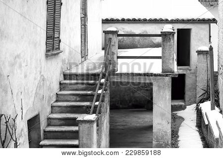 Detail Of A Typical Old House In A Village Of The Hilly Region Of Langhe (in The Southern Area Of Pi