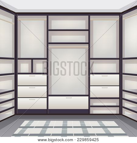 Empty Storage Room Wardrobe Cloakroom Interior Organization With Shelving Hanging Rails Shoe Racks W