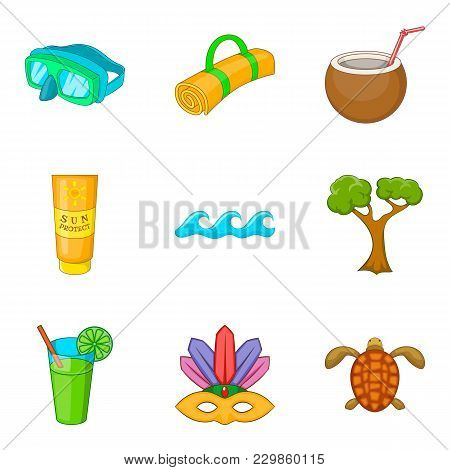 Tropic Adventure Icons Set. Cartoon Set Of 9 Tropic Adventure Vector Icons For Web Isolated On White