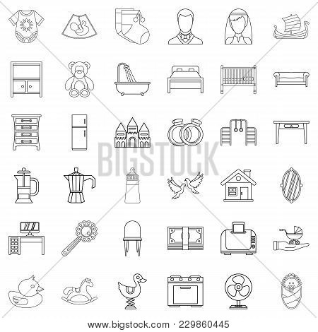 Progenitor Icons Set. Outline Set Of 36 Progenitor Vector Icons For Web Isolated On White Background