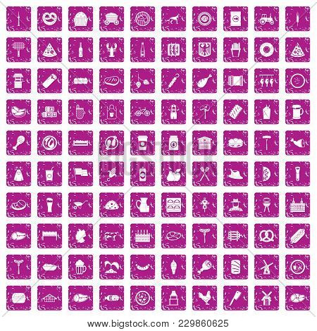 100 Meat Icons Set In Grunge Style Pink Color Isolated On White Background Vector Illustration