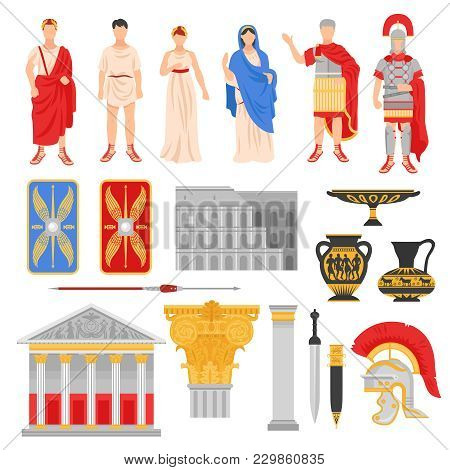 Ancient Rome Empire Set Of Isolated Flat Images With Pantheons Legionnaire Outfit Weapons And Human