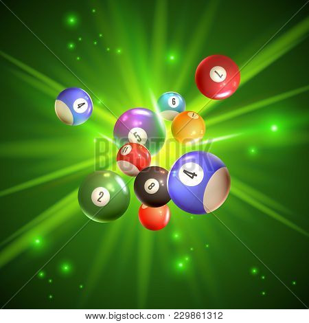 Colorful Bingo Balls With Reflection On Sparkling Green Background With Light Rays 3d Vector Illustr