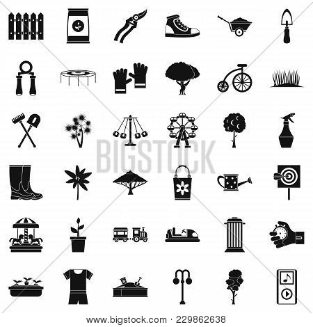 Public Garden Icons Set. Simple Set Of 36 Public Garden Vector Icons For Web Isolated On White Backg