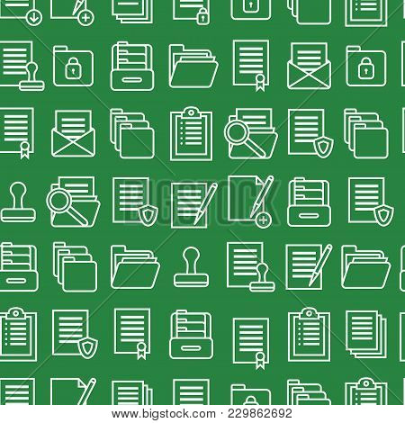 Folders Thin Line Seamless Pattern Background Symbol Office Or School Stationery Accessory For Web A