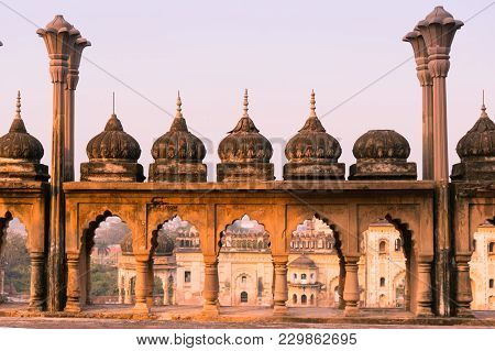 Arches And Domes With Pillars At Bara Imambara In Lucknow Uttar Pradesh India Shot At Sunset. The Ro