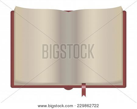 Strict Burgundy Open Notebook With Light Pages Red Bookmark Vector Isolated