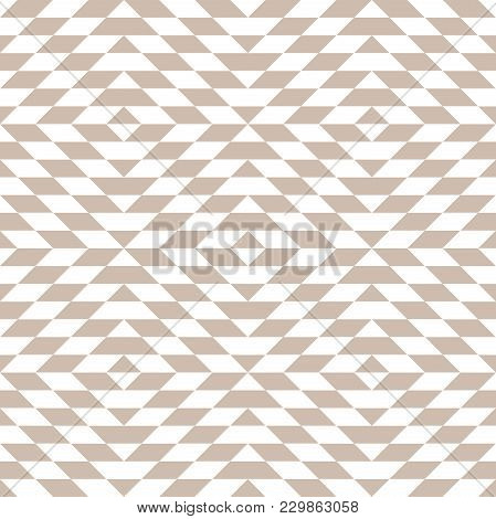 Abstract Geometric Patern With Rhombuses. A Seamless Vector Background. White And Beige Texture. Gra