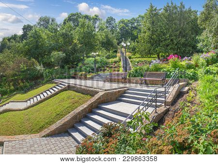 Vladimir, Russia - August 10, 2017: Slope With Stairs And Alleys In The Patriarchal Garden.