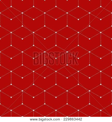 Abstract Geometric Patern With Rhombuses. A Seamless Vector Background. White And Red Texture. Graph