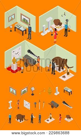 Interior Museum Exhibits Galleries And Elements Part Isometric View Culture Industry Concept With Vi