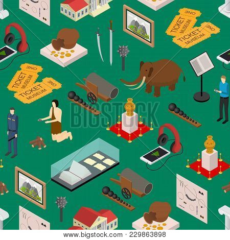 Museum Exhibits Galleries Seamless Pattern Background Isometric View Include Of Ticket, Sculpture, S