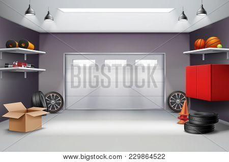 Garage Interior In Grey Color Realistic Composition With Sports Equipment, Automobile Wheels, Road C