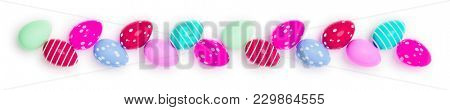 3d illustration of a row of colored easter eggs