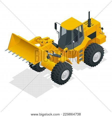 Isometric Vector Illustration Yellow Bulldozer Tractor, Construction Machine, Bulldozer Isolated On