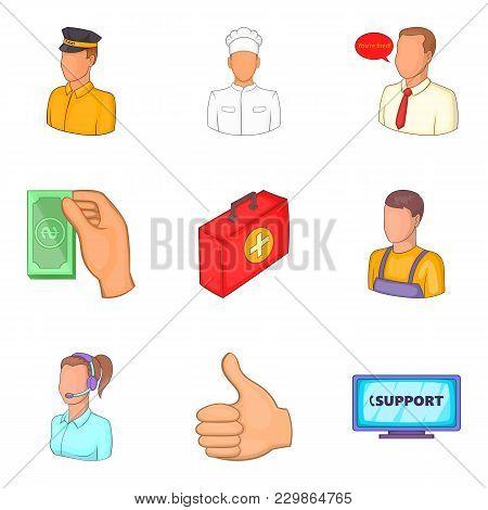 Profile Icons Set. Cartoon Set Of 9 Profile Vector Icons For Web Isolated On White Background