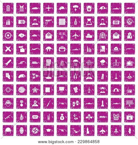 100 Military Journalist Icons Set In Grunge Style Pink Color Isolated On White Background Vector Ill