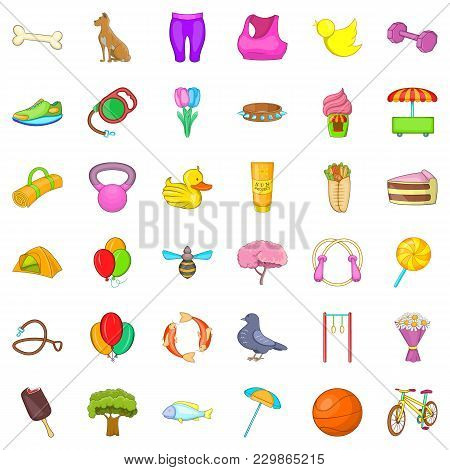 Conservation Area Icons Set. Cartoon Set Of 36 Conservation Area Vector Icons For Web Isolated On Wh