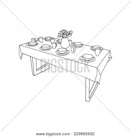 Vector Part Of The Dining Room Isoliated Table And Tableware, On The Table Vase Of Tulips Flowers Ha