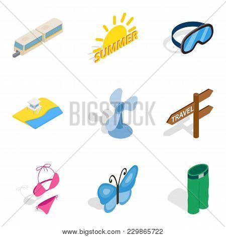 Summer Vacation Icons Set. Isometric Set Of 9 Summer Vacation Vector Icons For Web Isolated On White