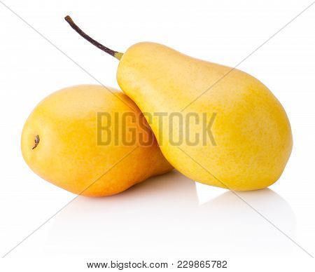 Two Ripe Yellow Pear Fruits Isolated On White Background