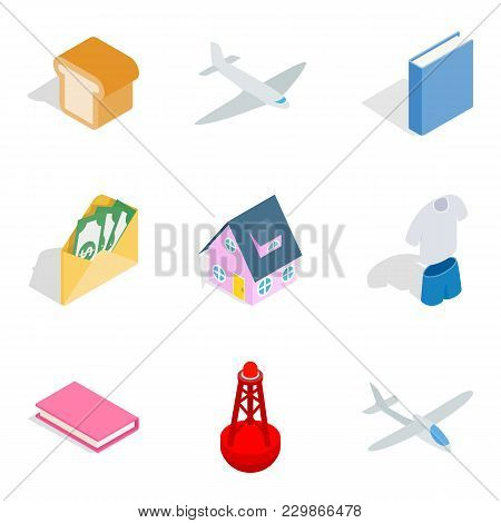 Business Building Icons Set. Isometric Set Of 9 Business Building Vector Icons For Web Isolated On W