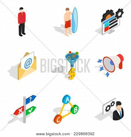 Technical Personnel Icons Set. Isometric Set Of 9 Technical Personnel Vector Icons For Web Isolated