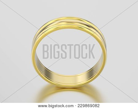 3d Illustration Yellow Gold Matching Couples Wedding Ring Bands On A Gray Background
