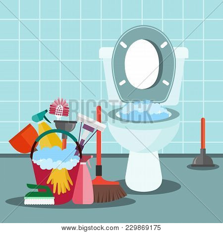 Cleaning Service Concept. Bathroom Interior With Toilet Bowl And Cleaning Equipment. Flat Vector Ill