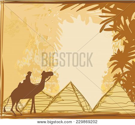 Old Paper With Pyramids Giza And Camel , Vector Illustration