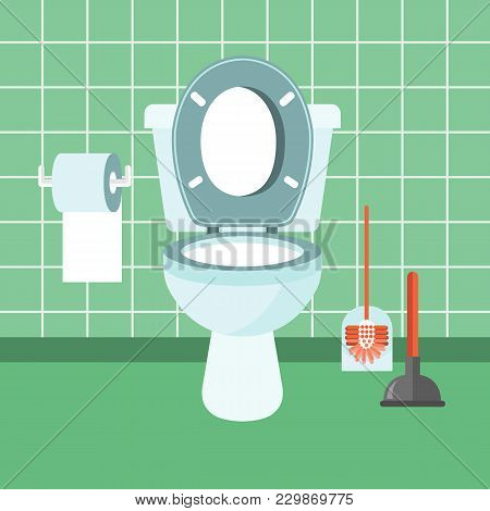 Bathroom Interior With Toilet Bowl, Toilet Paper, Brush And Plumber. Flat Vector Illustration.
